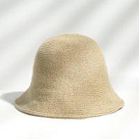 بنما الدافئة شتاء المرأة دلو قبعة للمراهقين شعرت الفتاة الصوف فتاة sautumn والأزياء الفراء قبعة سوداء واسعة بريم القبعات