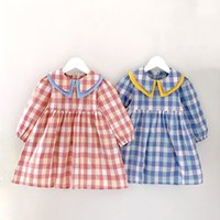 Girls Dress Fashion Plaid Lapel Color Matching Spring Summer...