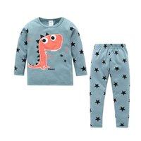 1-6Y осень весна младенческая детская мальчики девочек спать мультфильм животных печати с длинным рукавом пуловер длинные брюки домашняя одежда