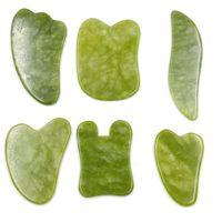 Yeşil doğal yeşim guasha hurda plaka gua sha masaj yüz meridyen hurdolma plaka parçası masaj araçları kol masaj aracı