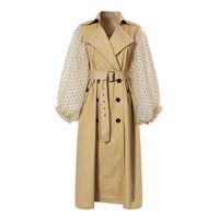 Women's Trench Coats LANMREM 2021 Spring Lapel Long Puff Sleeve Sashes Dot Mesh Stitching Loose Windbreaker Women Coat Fashion JH394