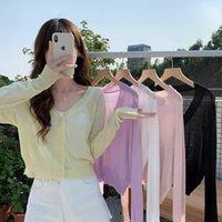 Women's Knits & Tees Korean Sun Protection Shirt Sexy V-neck Thin Short Long-Sleeved Knitted Cardigan Tops Women Summer Sweet Loose Knitwear
