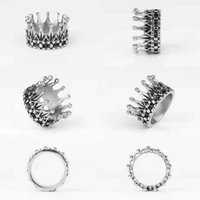 2021ss Silver Gold High Quality Cross Titanium Band Rings Fashion Cool Elegant Vintage Queen Crown Punk Hip-Hop Gothic Stainless Steel Men Ring Jewelry Accessories