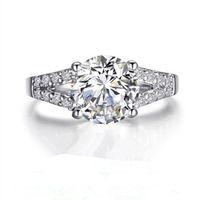 2ct sona خاتم الماس الاصطناعية للنساء عصابات الزفاف خاتم الخطوبة الفضة الأبيض مطلية بالذهب جميل وعد الشق