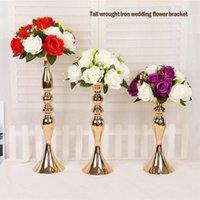 Ouro / prata flores vasos titulares de vela de estrada mesa de chumbo mesa de metal carrinho de metal para decoração de festa de casamento