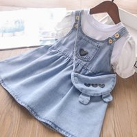 INS Kids denim Clothing Sets children puff short sleeve T-shirt+love heart cowboy vest dress+bags 3pcs summer girls soft cowboys outfits