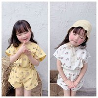 Korean girls 2 Stuck Summer Old clothes For Kids Happy Pattern In Fashion Katoen Linen Set 210506