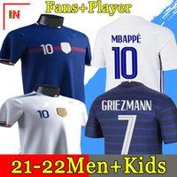 2020 MBappe Griezmann Pogba Giroud Kante France Jerseys 2021 홈 멀리 축구 유니폼 축구 셔츠 성인 남성 + 키트 키트