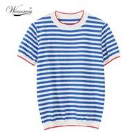 Isınma İnce Örme T Gömlek Kadın Giyim Yaz Kadın Kısa Kollu Tees Çizgili Rahat T-shirt Kadın B-019 Tops Tops