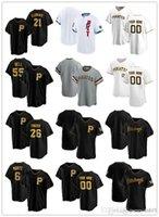 """맞춤 유니폼 망 피츠버그 """"해적""""26 Adam Frazier 6 Starling Marte 55 Josh Bell 21 Roberto Clemente Baseball Jerseys"""