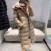 Женская куртка зима Parka длинные пальто падения ветровка вскользь открытый толстый высокое качество ветрозащитный теплый талия верхняя одежда подходит для экстремальных холодных зон