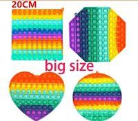 Moda Super Tamanho 20cm Formas Geométricas Arco-íris Push Bubble Fitgety Brinquedos Sensory Stress Reliege Brinquedos Interativos Para Crianças Presentes