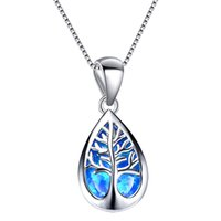 925 Jewelry Blue Opal Family Life Of Tree Pendant In Sterling Silver Necklace For Womem Gift