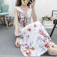 Bohemian Silk Seaside Holiday Long Vest Dress Beach Skirt Women's Summer Dress1k6n