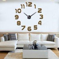 큰 벽 시계 3D 미러 스티커 독특한 큰 번호 시계 DIY 장식 아트 데칼 홈 현대 장식