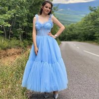 Blue Spaghetti Strap Homecoming Dresses A Line Tiered Ankle Length Prom Gown Exposed Boning Puffy Skirt Evening Party Gowns