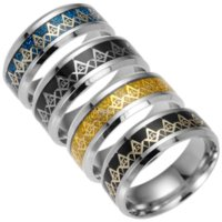Gold Blue Stainless Steel Freemason Ring Band Silver Gold Freemasonry Sign Rings for Women Men Fashion Jewely Will and Sandy Gift