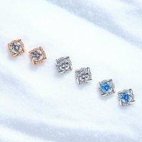 Stud 925 Sterling Silver Zircon Windmill Earrings For Women Designer Jewelry Dainty Classic Fashion