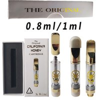 California Honey Empty Vape Caryridges Packaging Atomizers 0.8ml 1ml Glass Thick Oil Cartridge Wax Vaporizer E Cigarette Ceramic Carts 510 Thread
