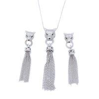 Роскошные ювелирные изделия Leopard Tassel Серьги Ожерелье Набор Party Blittering Мода Элегантные Женщины