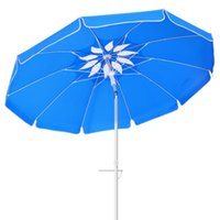 Tents And Shelters MOVTOTOP 6.5ft Beach Umbrella Ventilation UV Protection Sun Shelter Windproof For Seaside Travel (Sky-blue