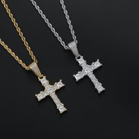 Hip Hop Cubic Zirconia Paved Bling Ice Out Cross Pendants Necklaces for Men Women Rapper Jewelry
