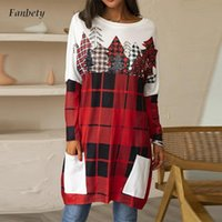 Women's Blouses & Shirts 2021 Women Elegant Round Neck Loose Long Sleeve Blouse Tops Autumn Spring Casual Printed Pullover Female Mujers