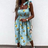 Casual Dresses 2021 Fashion Women Summer Flower Print Dress Design Pockets Bandage Decor Sling With Bow Sleevelss Square Collar Slim