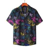 Hombres de manga corta camisas hawaianas con ajuste relajado para hombres Rápido secado de verano Casual 3D Coco Impreso Botón Down Down Women Holiday Beach Camisa para Male SS107