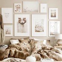 Картины бежевые одуванчики травы природа холст живопись богемии плакаты и принты стены искусства картинки для гостиной современный дом украшение