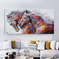 Selbstlos Tierkunst Zwei laufende Pferde Leinwand Malerei Wandkunst Bilder Für Wohnzimmer Moderne Abstrakte Kunstdrucke Poster