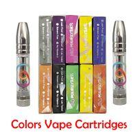 Couleurs Cartouches de Vape Pod 0.8ml Atomiseurs 510 Réservoir de fil Huile épaisse Full Céramique Pen Vide E-Cigarettes Chariots avec autocollants d'emballage au détail