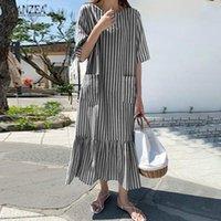 Party Dresses ZANZEA Women Summer Sundress Stylish O Neck Short Sleeve Striped Dress Robe Femme Holiday Ruffles Long Vestidos