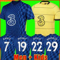 Chelsea CFC PULISIC ZIYECH HAVERTZ KANTE WERNER ABRAHAM CHILWELL MOUNT JORGINHO قميص كرة القدم 2022 2021 GIROUD قميص كرة القدم 22 21 رجال + طقم أطفال