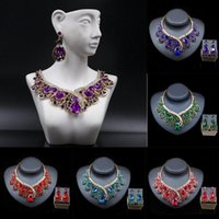 Earrings & Necklace 2pc Dubai African Crystal Vintage Statement Jewelry Set Bridal Wedding Choker Rhinestone Collar Nigerian Gifts