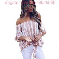 Chiffon Bluse Frauen Mode gestreifte Hemd Sommer Schulterfrei Casual Tops Fliege Bandage Blusen Hemden Blusa Mujer S-XL
