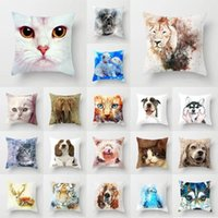 """Pillow Case 18"""" Abstract Dog Animal Pillowcase Peach Skin Sofa Car Living Room Bedroom Seat Cushion Cover Fashion Home Decoration"""