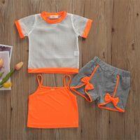 Toddler Bebek Kız 1 T-6 T Giysi Yaz Katı Renk Sling Yelek Net T-shirt Kısa Pantolon 3 adet Kıyafetler Giysi Yaz Seti 1369 Y2