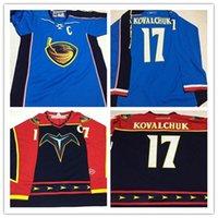 Custom Men's 2001 Vintage 17 Ilya Kovalchuk Jersey Atlanta Thrashers Koho Hóquei Jerseys 2007-08 Azul Gelo Tamanho S-5XL