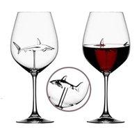 Óculos de vinho tinto - chumbo livre de titânio de cristal elegância original tubarão tubarão vinho tinto vidro com tubarão dentro de compras longas owb8773