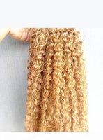 Brasilianische menschliche jungfrau Remy verworrene lockige Haarverlängerungen dunkle blonde 27 # farbiges haar schuss 2-3bundel für volles kopf