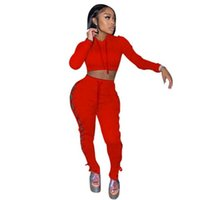 Women Tracksuits Dinger Two Piece Set Sexy Hollow Out Hoodi Bandage et Contrast Splicing Strap Coat Outfits S-XXL