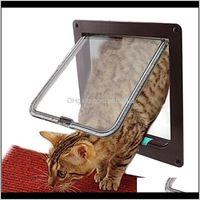 Carriers,Crates Houses Home & Garden4 Way Lockable Cat Flap Kitten Puppy Plastic Door Pet Supplies 3Sizes Dog Security Gate Tool Drop Deliver