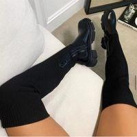 Boots Tiwailshoes Thick Heel Knee-High Women Winter Plus Velvet Stretch High Large Size Suede Botas De Mujer 2021