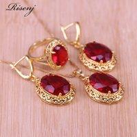 Risenj Dubai estilo de luxo muitas cores grandes pedra vermelha de pedra de ouro jóias para mulheres ajustáveis anel colar conjunto 210323