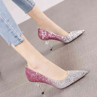 sandals autumn rhinestone sequins gradient color pointed stiletto high heel women tide fashion sexy shallow mouth single shoes