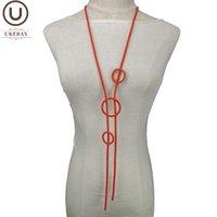 Catene ukebay tondo ciondolo collane per donne lunghe collana grande boemia accessori moda vestiti catena di gomma gioielli fatti a mano