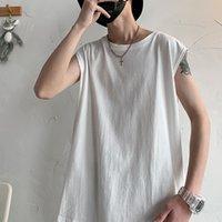 남성용 마이 패션 브랜드 인 솔리드 컬러 민소매 T 셔츠 소년 여름 한국 트렌드 느슨한 재킷 힙합 쿨 플레이