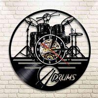 Гитара Барабаны набор силуэт Светодиодная подсветка Reloj Music Современные виниловые часы 3D настенные часы Horloge Band Here Fan Handmade подарок 210325