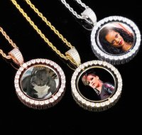 Custom Photo Frame Memory Medallions Pendants Necklace Two Sides Rotatable Men Women Bling Iced Out Male Hip Hop Rapper wjl3545